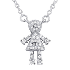 925 Sterling Silver Clear CZ Girl Pendant with Rolo Chain Necklace 16 inch Spring Ring Clasp