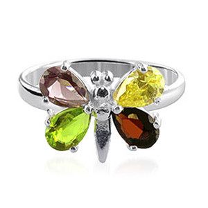 925 Silver Pear Shape Multi Cubic Zirconia Butterfly Ring