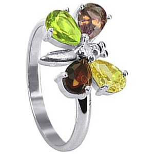 925 Sterling Silver Teardrop Multi Cubic Zirconia Butterfly Ring