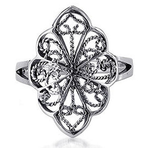 Sterling Silver Filigree Scrollwork Floral Design Ring