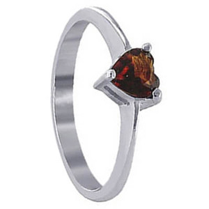925 Sterling Silver Garnet Color Cubic Zirconia Heart Solitaire Ring