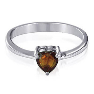 Garnet Color Cubic Zirconia Heart Solitaire Ring