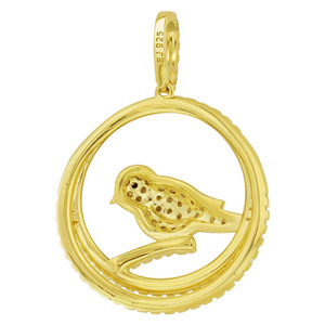 Gold over Sterling Silver Vermeil Smokey Topaz Color Cubic Zirconia Bird Pendant