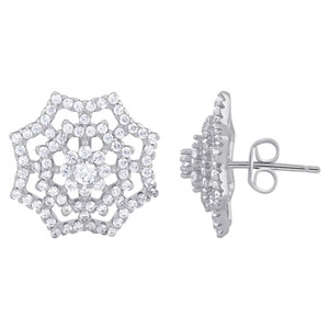 925 Sterling Silver Cubic Zirconia Flower Post Back Stud Earrings
