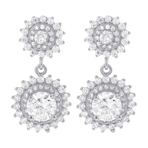 925 Sterling Silver Cubic Zirconia Post Back Drop Earrings