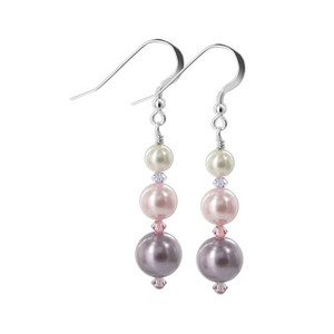 Sterling Silver 10mm 7mm 5mm Multi Simulated Pearl Drop Earrings with Swarovski Elements