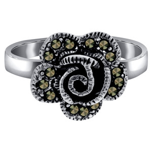 Sterling Silver Marcasite Flower Ring