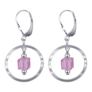925 Silver Swarovski Pink Crystal Drop Earrings