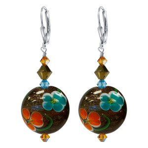 Multi Flower Design Glass Bead and Swarovski Crystal Earrings