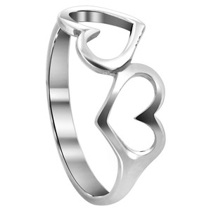 925 Sterling Silver Emotional Twin Open Heart Love Ring