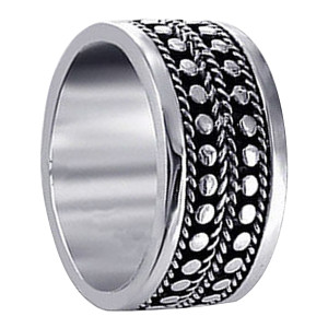 Sterling Silver Engraved Spots Design Band