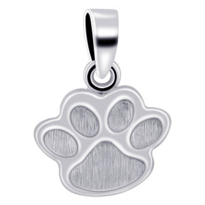 925 Sterling Silver 19mm x 17mm Bear Foot Pendant