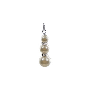 Sterling Silver Round Faux Pearl 1 inch Charm Pendant Made with Swarovski Elements