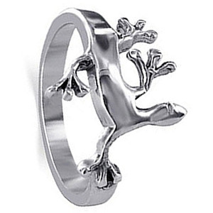 Sterling Silver Crawling Lizard Design Ring