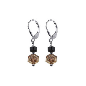925 Silver Made with Swarovski Cube Crystal Drop Earrings