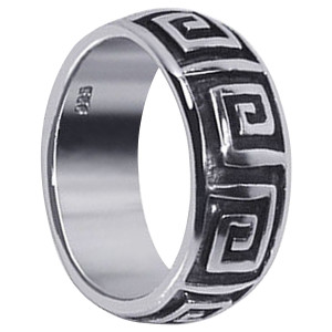Mens Sterling Silver Maze Design Band