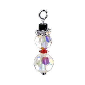 Sterling Silver Multifaceted 10mm x 8mm Crystal Charm Pendant Swarovski Elements