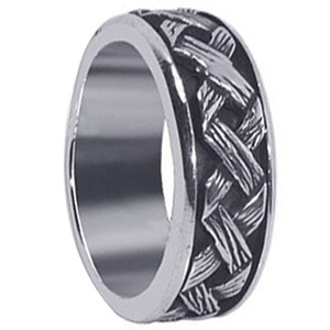 Mens 925 Sterling Silver Braided Woven Design 8mm Spinning Band