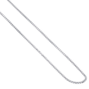 "Italian 925 Sterling Silver 1mm Rhoidum Plated Box Chain Necklace (16"" - 24"" Available)"
