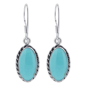 925 Sterling Silver Oval Simulated Turquoise Drop Earrings
