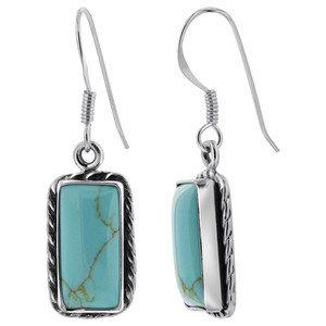 925 Sterling Silver Rectangular Simulated Turquoise Drop Earrings