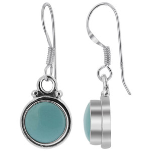 Sterling Silver Simulated Turquoise 8mm Round French Wire Drop Earrings