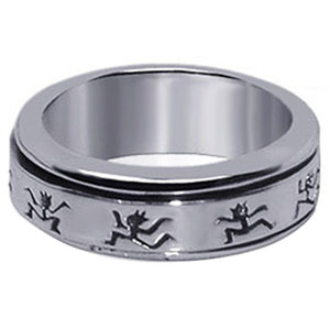 Men's 925 Silver Dancing Figures Design Spinning Band