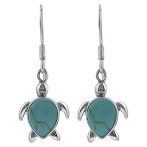 Sterling Silver 18 x 12mm Simulated Turquoise Sea Turtle Drop Earrings