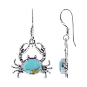 Sterling Silver Oval Simulated Turquoise Sea Crab Drop Earrings