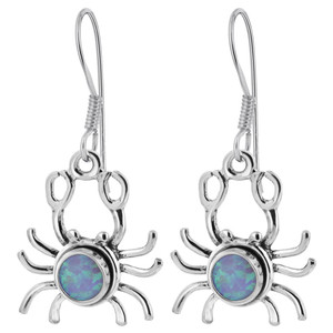 Sterling Silver Created Blue Fire Opal Sea Crab Drop Earrings