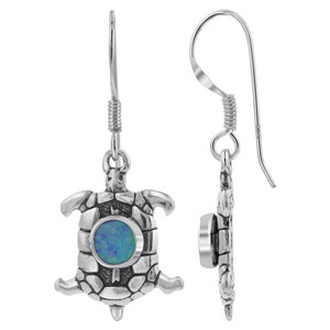 925 Silver Blue Fire Opal Oval Turtle Drop Earrings