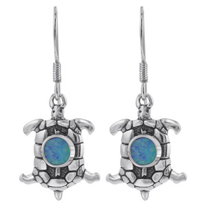 Sterling Silver 18 x 13mm Created Blue Fire Opal Oval Turtle Drop Earrings