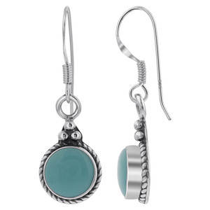 Sterling Silver Simulated Turquoise Round Bali Design Drop Earrings
