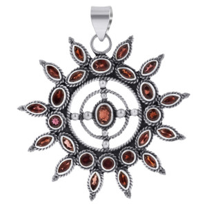 Sterling Silver Nautical Wheel Garnet Gemstone 64 x 57mm Pendant