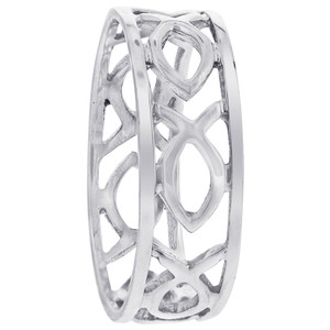 925 Sterling Silver Fish Cut out 7mm Band