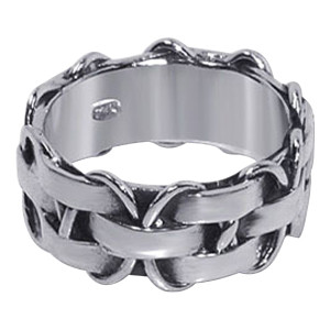 Men's 925 Silver Stylish Braided Pattern 10mm Band