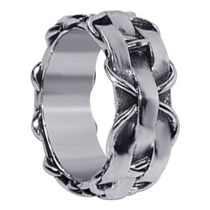 Mens 925 Sterling Silver Contemporary Woven Design Stylish Braided Pattern 10mm Band