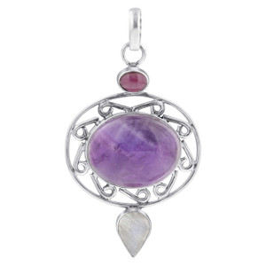 Sterling Silver Oval Amethyst February Birthstone Gemstone Filigree Design Pendant