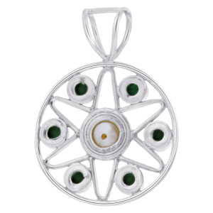 Sterling Silver Trendy Hydrangea Round Malachite Gemstone and Fresh Water Pearl Pendant