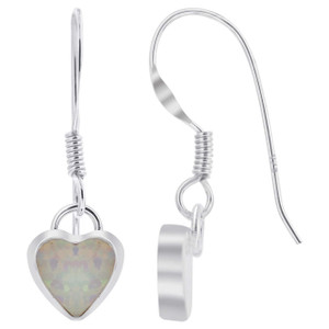 White Opal Heart Drop Earrings