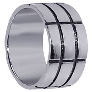 Mens Sterling Silver Contemporary Bold Lines Wedding Band