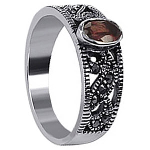 Garnet Color Cubic Zirconia Oval with Marcasite Ring