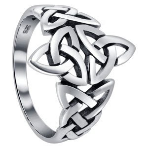 925 Silver Double Triquetra Celtic Knot Design Ring