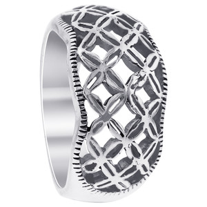 925 Sterling Silver 11mm Woven Look Filigree Ring
