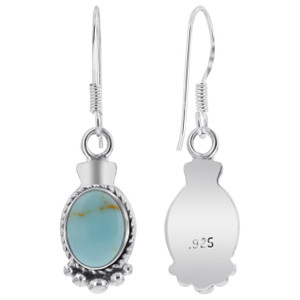 925 Silver Oval Turquoise Bali Design Drop Earrings