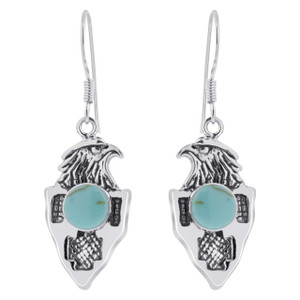 925 Sterling Silver Round Turquoise Eagle Drop Earrings
