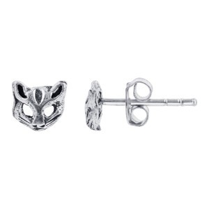 925 Sterling Silver 7 x 8mm Cat Face Kids Stud Earrings