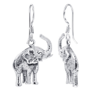 Sterling Silver 1.22 x 0.69 inch Tusker Elephant French wire Kids Drop Earrings