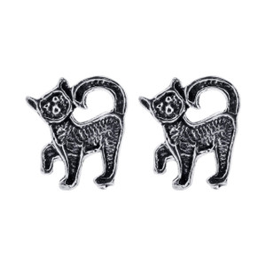 925 Sterling Silver 11 x 7mm Cat Post back Stud Earrings