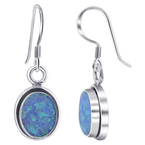 925 Sterling Silver Oval Created Opal Drop Earrings